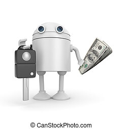 Robot sell or buy car. 3d illustration