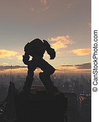 Robot Sentinel at Sunset