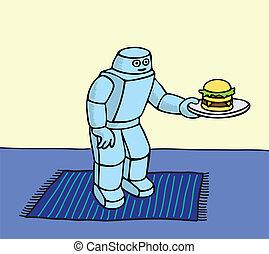 Robot Servant - Robot helper serving a hamburger