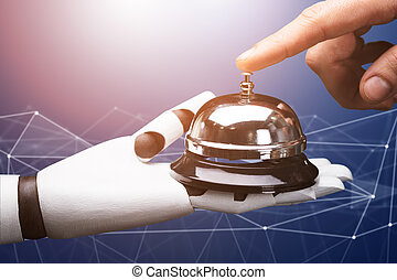 robot, servicio, asimiento, persona, campana, resonante