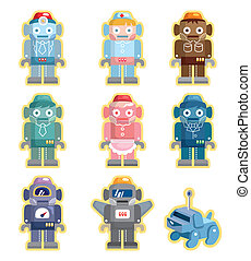 robot, set, cartone animato, icone