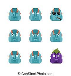 Robot set emoji avatar. sad and angry face. guilty and sleeping. Cyborg sleeping emotion face. Robotic man Eggplant. Vector illustration