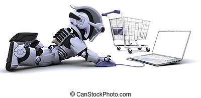 Robot shopping for gifts on a laptop