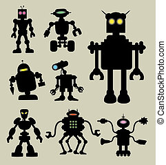 Robot Silhouettes 1 - Smooth and detail eight different...