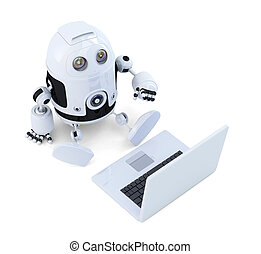 Robot sit with laptop.