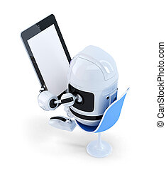 Robot sitting with a Tablet Computer. Isolated. Contains clipping path of entire scene and tablet screen