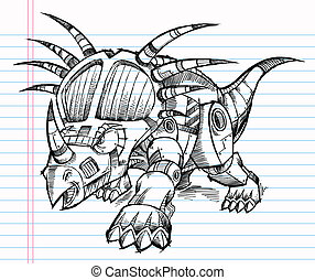 Robot Sketch Triceratops Dinosaur