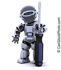 robot, skruvmejsel