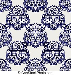 Robot skull with gears seamless pattern