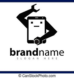 robot smart phone logo repair vector template