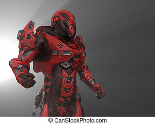Robot soldier - 3d illustration of a advanced robot soldier