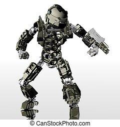 robot soldier - 3d render of robot drone
