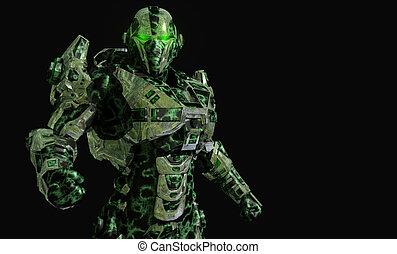 Robot soldier - 3d illustration of a advanced robot soldier