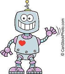 robot., sourire, dessin animé