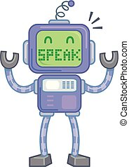 Robot Speak Illustration - Concept Illustration Featuring a...