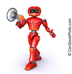 robot speaks in megaphone