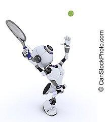 robot, spelend tennis