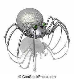 Robot-spider - 3D Illustration - metallic spider with green...