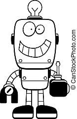 robot, spotprent, schroevendraaier