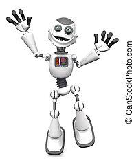 robot, spotprent, springt, joy., het glimlachen, witte