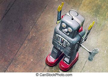 robot on wooden floor