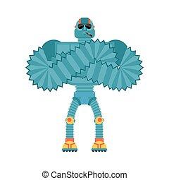 Robot Strong Cool serious. Cyborg smoking cigar emoji. Robotic man strict. Vector illustration