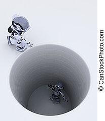 robot stuck in a hole metaphor
