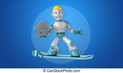 Robot surfing - 3D Animation