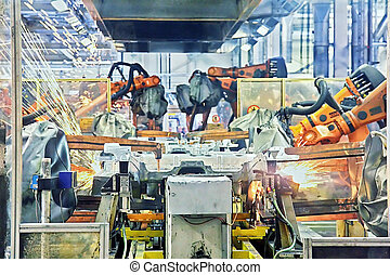 robot, svařování, od vagón, továrna