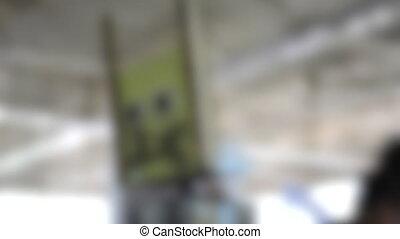 robot, tête, brouillé, arrière-plan., virages, fait maison, côté