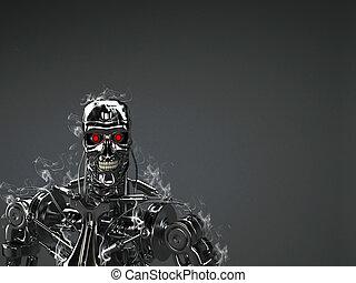 robot, tło