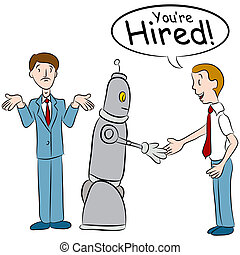 Robot Taking Jobs - An image of a man losing a job to a...