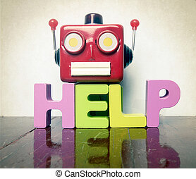 robot taliking head with the word help on a wooden floor