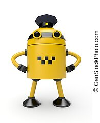Robot taxi driver - The robot is painted under the employee...