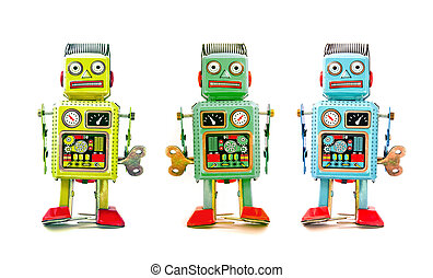 robot team - three robot toys in a line