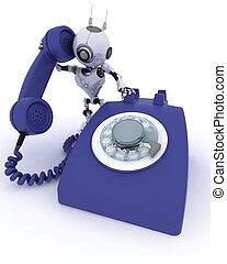robot, telefon