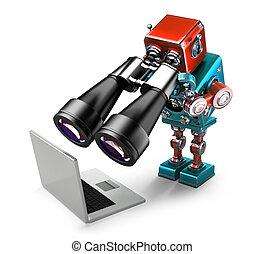 robot, tenencia, binoculares, y, el mirar, laptop., buscando, concept., isolated., contiene, ruta de recorte