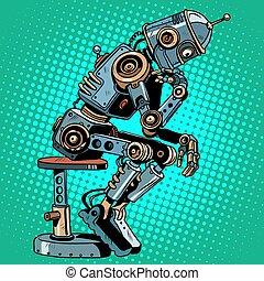 Robot thinker artificial intelligence progress pop art retro...