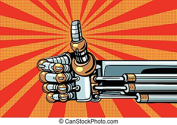 Robot thumb up gesture like. Pop art retro vector...
