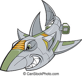 robot, tiburón, cyborg, vector