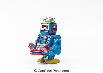 robot tin toy on white background