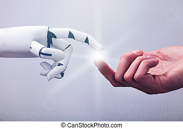 Robot Touching Human Finger Against Technology Background