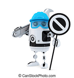 robot, trabajador construcción, con, llave inglesa, y, parar la muestra