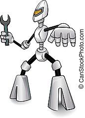 robot, trabajando