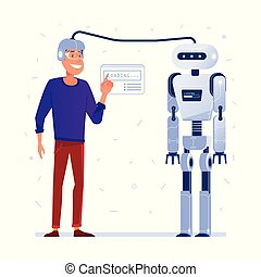robot., transfert, données, cerveau humain