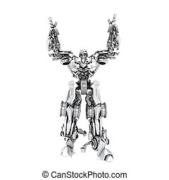 Robot transformer isolated on white. 3d render