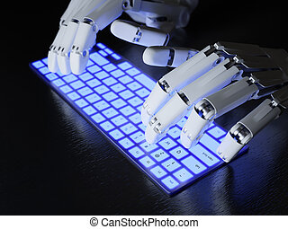 Robot typing on keyboard - Robot typing on conceptual...