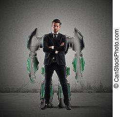 robot, uomo affari