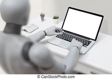 Robot using laptop - Artificial Intelligence Concept