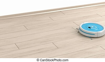 Robot vacuum cleaner - Cleaning the floor with robot vacuum...